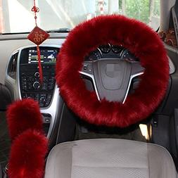 1 Set 3 Pcs Steering Wheel Cover Faux Wool Hand Brake Set Wa