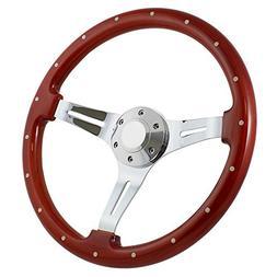 Forever Sharp 14 Inch Slotted 3 Spoke Steering Wheel Riveted