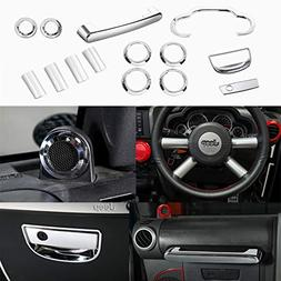 YOCTM 14 Pieces Interior Accessories Chrome ABS Interior Ste