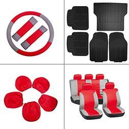 SCITOO 17-PCS Black Full Set Car Floor Mats W/Trunk Liner Gr