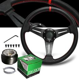 1993-1997 Honda Del Sol Red Stitches PVC Leather Steering Wh