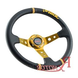 Rxmotor 3.5'' Deep Dish 6-Hole Black Leather 3 Blue Ring Ste
