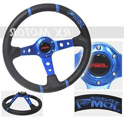 "Rxmotor 3.5"" Deep Dish Steering Wheel Blue Black Pvc Leather"