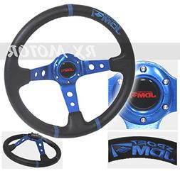"Rxmotor 3.5"" Deep Steering Wheel Black Blue Pvc Leather w/ B"