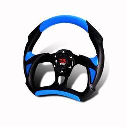 320MM 6-Hole JDM Blue/Black PVC Leather Steering Wheel