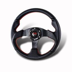 320MM 6-Hole JDM Red Stiches Black PVC Leather Steering Whee