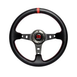 320mm Deep Carbon Leather Red Stitch Steering Wheel