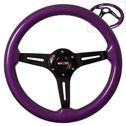 345MM 6-Bolt Mounting Purple Luxury Wood Grain Black Aluminu