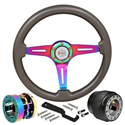 345mm 6-Bolt Steering Wheel Hub Adapter Extender Type R Horn