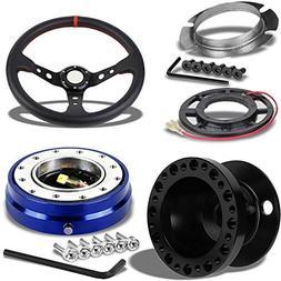 "350MM 3"" Black Tri-Spoke/Red Stripe Steering Wheel+Black 6-H"
