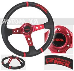 Rxmotor 350mm Deep Dish 6 Bolts Steering Wheel 3 Red Ring w/