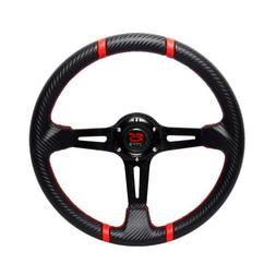 350mm RS TYPE Black Carbon Style Steering Wheel with Red Sti