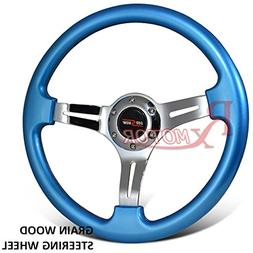 Rxmotor 350mm Steering Wheel Classic Wood Grain Chrome Shiny