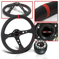 350mm Steering Wheel Deep Dish Red Stitch with Hub Adapter a
