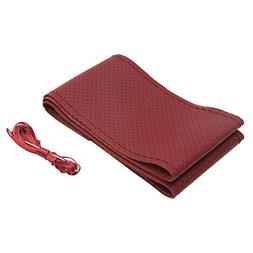 uxcell 38cm Dia Burgundy Faux Leather Car Steering Wheel Cov