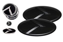 3D K Logo Emblem Black & Black Edition Set 8pc Front + Rear