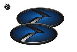 3D K Logo Emblem Blue & Black Edition Set 3pc Front + Rear +