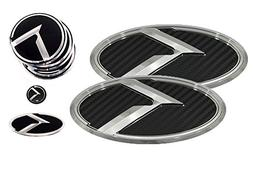3D K Logo Emblem Carbon Fiber & Chrome Edition Set 8pc Front