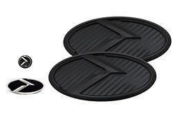 3D K Logo Emblem Carbon Fiber & Black Edition Set 4pc Front