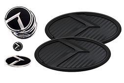 3D K Logo Emblem Carbon Fiber & Black Edition Set 8pc Front