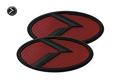 3D K Logo Emblem Red Carbon Fiber & Black Edition Set 3pc Fr