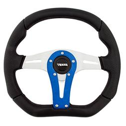 Grant 8548 Suede Series D-Shaped Racing Steering Wheel with Yellow Center Line and Red Stitching
