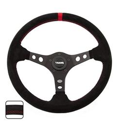 Grant 695 Suede Wrapped Racing Steering Wheel with Red Top M