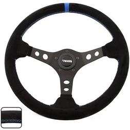 Grant 696 Suede Wrapped Racing Steering Wheel with Blue Top