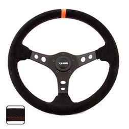 Grant 699 Suede Wrapped Racing Steering Wheel with Orange To