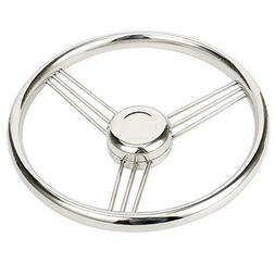 Amarine Made 13.5 Inch 9 Spoke Stainless Boat Steering Wheel