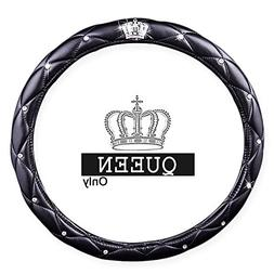Queen's Auto Steering Wheel Cover with Noble Crown + Bling D