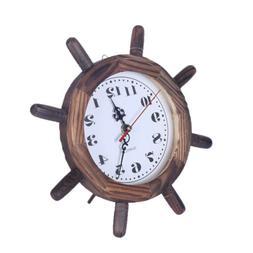 Table Desktop Wooden Clock Decorative Wood Boat Ship Steerin