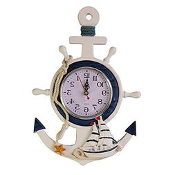 WINOMO Anchor Clock Beach Sea Theme Nautical Ship Wheel Rudd