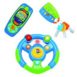 Babyfern Developmental Toy Steering Wheel, Cell Phone & Car