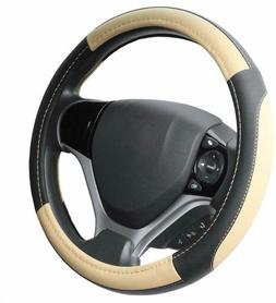 Seg Direct Black And Beige Microfiber Leather Steering Wheel