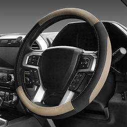 SEG Direct Black and Beige Microfiber Leather Steering Wheel