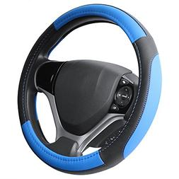 SEG Direct Black and Blue Microfiber Leather Steering Wheel