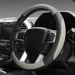 SEG Direct Black and Gray Microfiber Leather Steering Wheel