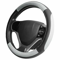SEG Direct Black and Gray Microfiber Leather Steering Wheel