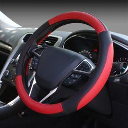 black and red microfiber leather auto car