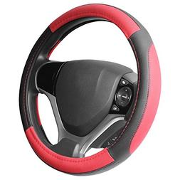 SEG Direct Black and Red Microfiber Leather Steering Wheel C