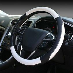 SEG Direct Black and White Microfiber Leather Auto Car Steer