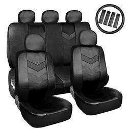 black faux leather car auto seat cover