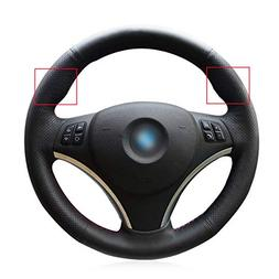 Black Genuine Leather Steering Wheel Cover for BMW 128 I 135
