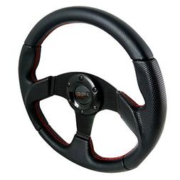 320MM Black Leather Red Stitch Sport Racing Steering Wheel