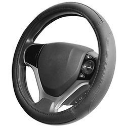 black microfiber leather steering wheel cover