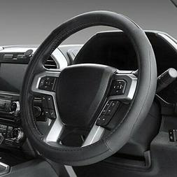 SEG Direct Black Microfiber Leather Steering Wheel Cover for