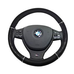 SCITOO Black Universal 15 Inch Steering Wheel Cover Leather