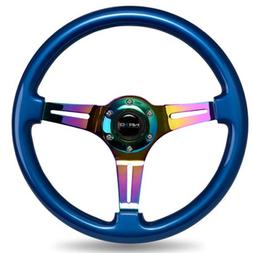 NRG Innovations Blue Wood Wheel, 350mm, 3 Spoke Center in NE
