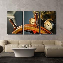 wall26 - 3 Piece Canvas Wall Art - Wood Steering Wheel in Bi